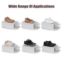 3 Pack/Set Stackable Storage Shoe Box Clear Plastic Shoes Containers Cases FP8