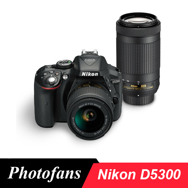 Nikon D5300 DSLR Camera Dual Lens Kit with Nikon AF-P 18-55mm Lens and Nikon AF-P 70-300mm Lens (New)