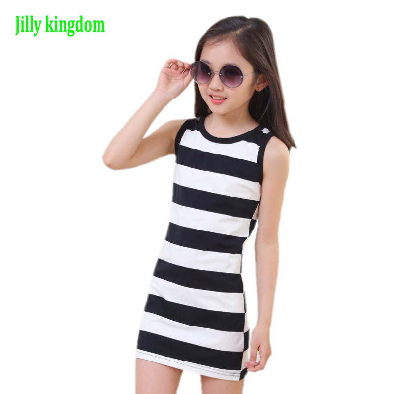 Jilly Kingdom 2019 Nya Girls Dress 3 4 6 8 10 12 år Girls Stripe Seeveless Bomull Summer Girls Dress Tutu Klänningar För Tjejer