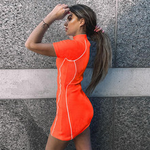 2019 Sport Sexy Orange dress Summer clothes for women dresses Above Knee, Mini vestido sukienka zanzea