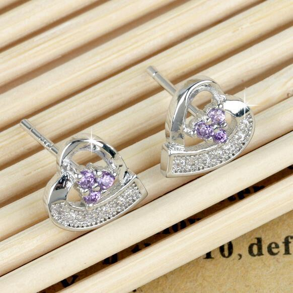 OMHXZJ Wholesale Fashion jewelry beautiful girl purple love heart Amethyst 925 sterling silver Stud earrings YS102