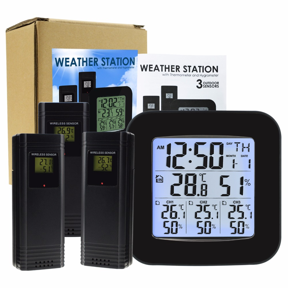 Image 2 - Weather Station w/ 3 Indoor/Outdoor Wireless Sensors Digital  Thermometer Hygrometer Black LED LCD Display Temperature