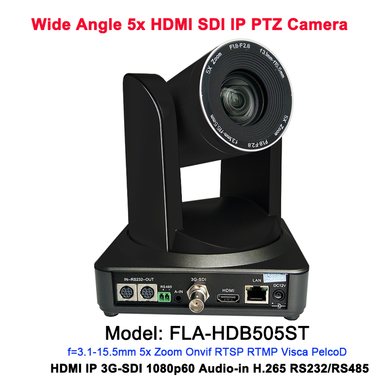 Video Broadcasting Professional Video Audio-In 5x Auto Zoom 1080p PTZ Camera with simultaneous HDMI and 3G-SDI Outputs