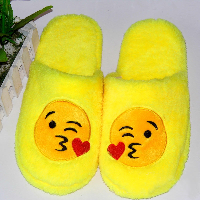 Winter Women Emoji QQ Expression Cotton Slippers Home Indoor Silent Floor Slippers Fur Soft Casual Flat Shoes Plus Size 36-45Winter Women Emoji QQ Expression Cotton Slippers Home Indoor Silent Floor Slippers Fur Soft Casual Flat Shoes Plus Size 36-45