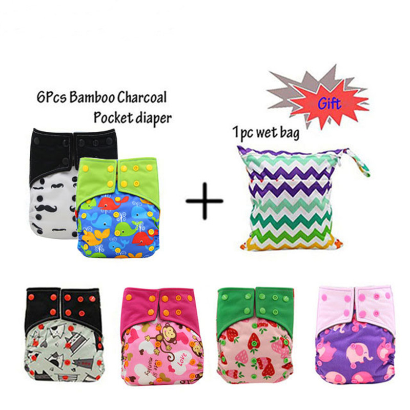 Reusable AI2 Cloth Diapers Baby Nappy Bamboo Charcoal Pocket Diaper Cove Adjustable Washable Ohbabyka Cloth Nappies 6PCS цена