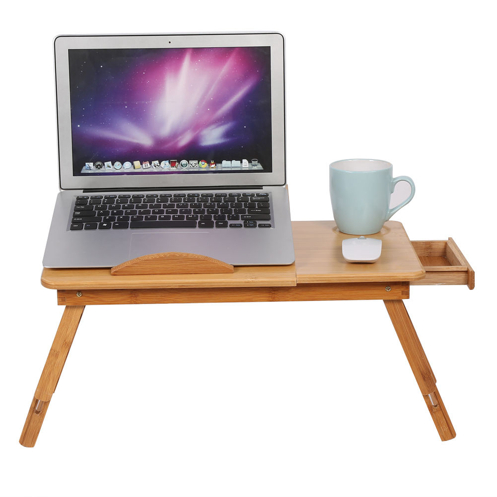 NOCM Adjustable Computer Desk Portable Bamboo Laptop Folding Table Foldable Laptop Stand Desk Computer Notebook Bed Table