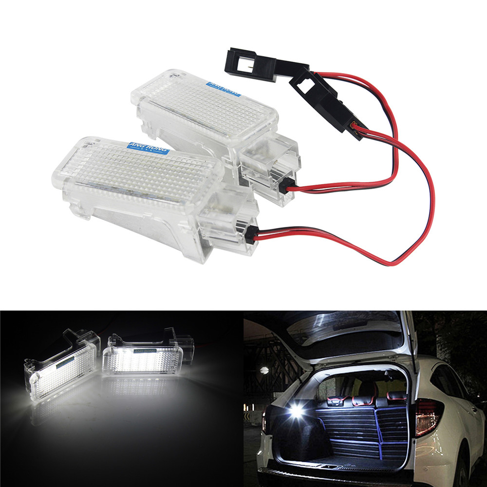 ANGRONG 2x For Audi Canbus LED Luggage Door Courtesy Footwell Light A3 8P A4 A6 A8 Q5 Q7 TT rockeybright 1set car interior lamp auto footwell light for audi a2 a4 under door trunk light led door courtesy backlight lamps