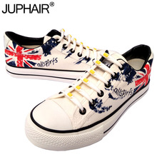 JUP Women Boys Cartoon Anime Flag Pattern Despicable Me Minion Shoes Couples Hand Painted Canvas Shoes Casual White Tie Shoelace