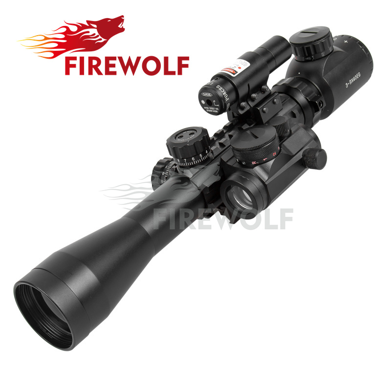 Optics Rifle 3-9X40 Illuminated Hunting Red/Green Laser Riflescope with Holographic Dot Sight Combo Airsoft Gun Weapon Sight hunting red dot sight tactical 3 9x40dual illuminated mil dot rifle scope with green laser sight combo airsoft weapon sight