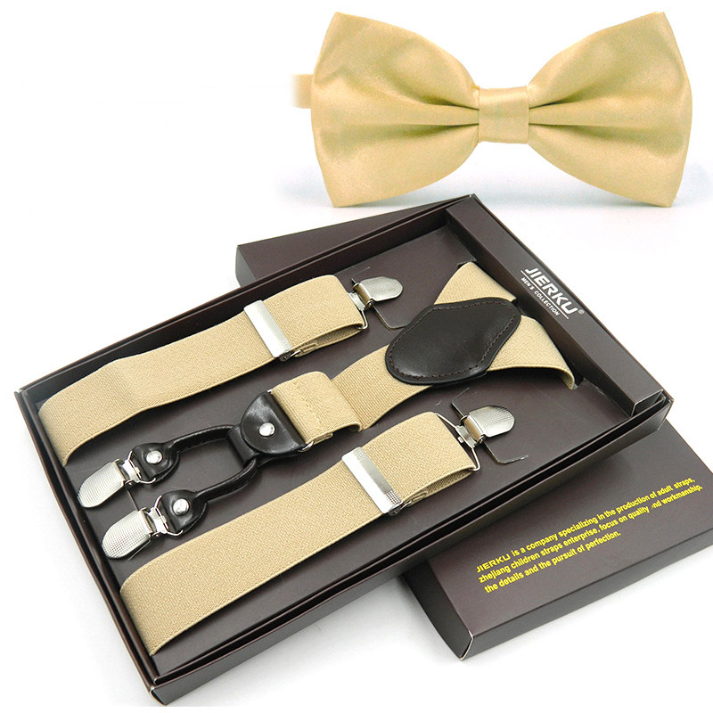 JIERKU Suspender Tie Set Man's Braces With Bow Tie 4Clips Suspensorio CintaTrousers Strap Riem Father/Husband's Gift TZ4C1027