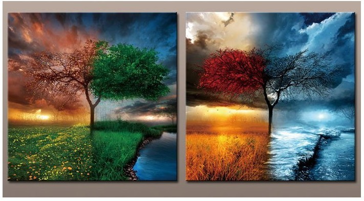 2pcs/set Large Abstract Art Of 4 Season Spring/Summer
