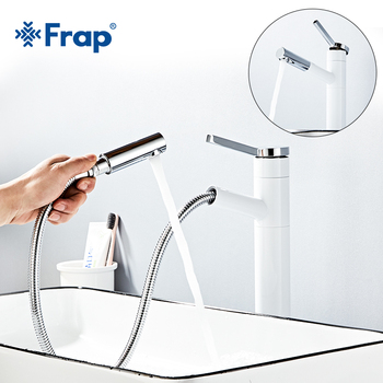 Frap New White and gold Spray high sink Faucet Bathroom Fitting Crane 360 Free-Rotating Single Hot and Cold Basin Faucet tap