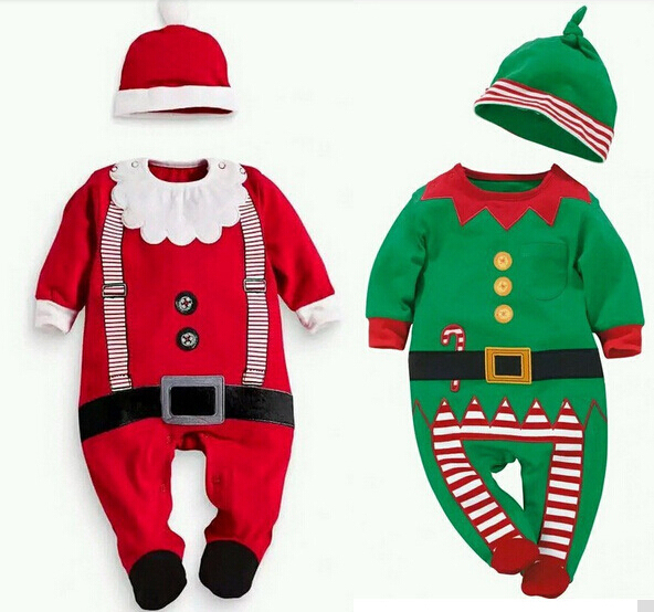 new 2015 Christmas Baby rompers Costume kids newborn clothes long sleeve spring children infant clothing set top+hat Top quality