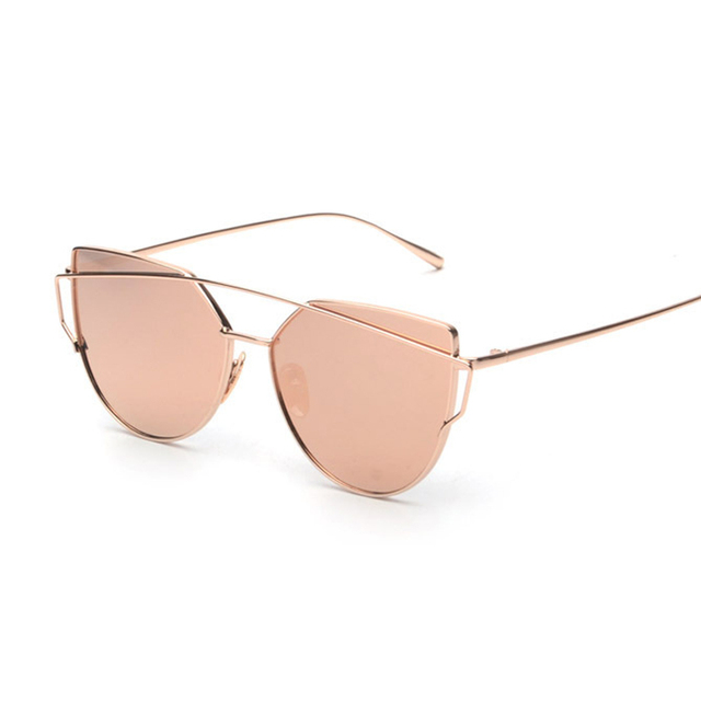 a34f8688f4fae Pink vintage Mirror female Women Cat Eye Sunglasses Brand Designer  Twin-Beams ladies Sun glasses for women retro Feminino