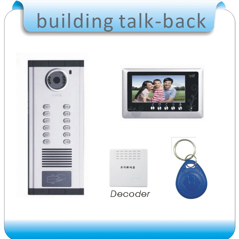 DIY 2 room 7 TFT Led doorphone visual intercom system/ RFID 125KHZ access control visual ...