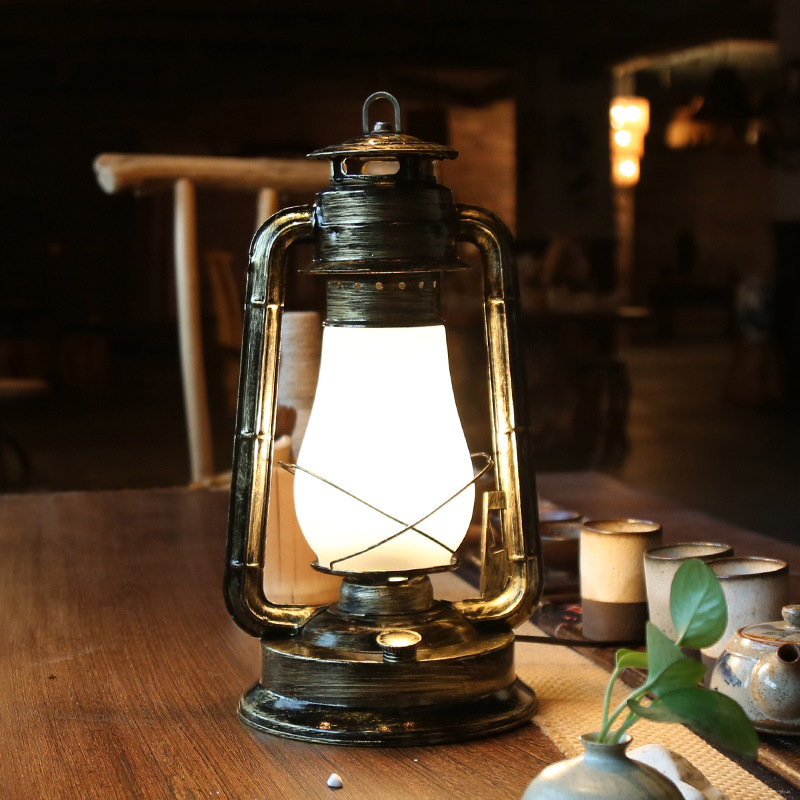 Retro Vintage Country Iron Glass Lantern E27 Table Lamp