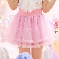Japanese Princess Sweet Ball Gown Skirts Women Pink Lace Petticoat Cosplay Lolita Style Mini Skirt Soft Girl High Waist Ruffles
