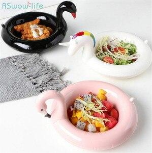 Image 1 - クリエイティブフラミンゴ雪だるまボウルボウルユニコーンスナックプレート黒白鳥スナックプレートアイスクリームヨーロッパスタイルのフルーツ皿