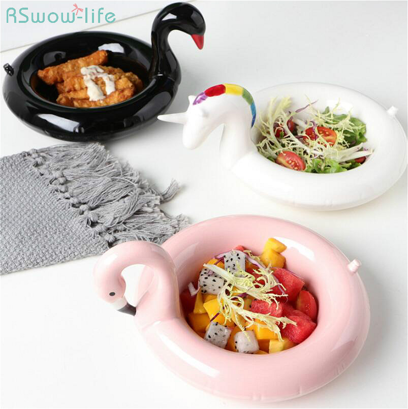 Creative Flamingo Snowball Bowl Dessert Bowls Unicorn Snack Plate Black Swan Snack Plates Ice Cream European Style Fruit Dish-in Bowls & Plates from Home & Garden