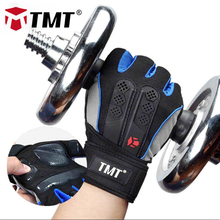 TMT Silicone Antislip Breathable Meshed Lengthened bandage Weightlifting Fitness Dumbbell Gym Body Building Half Finger Gloves
