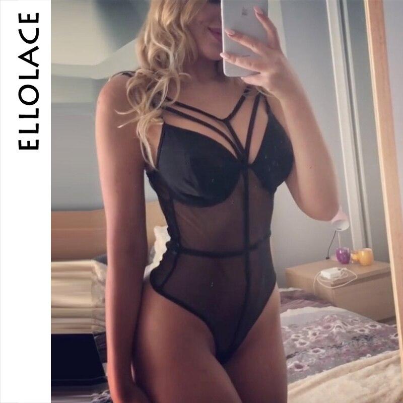 Ellolace Mesh Bodysuit Women Transparent Rompers Bodys Bandage Overalls Sleeveless Female Patchwork Black Bodycon Catsuit