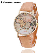 World Map Watch Women Casual Leather
