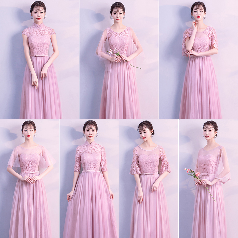 Lace Elegant Long Formal Sister Prom Junior Champagne Dusty Blue Gray Pink Purple Bridesmaid Dresses Wedding Guest Dress 950