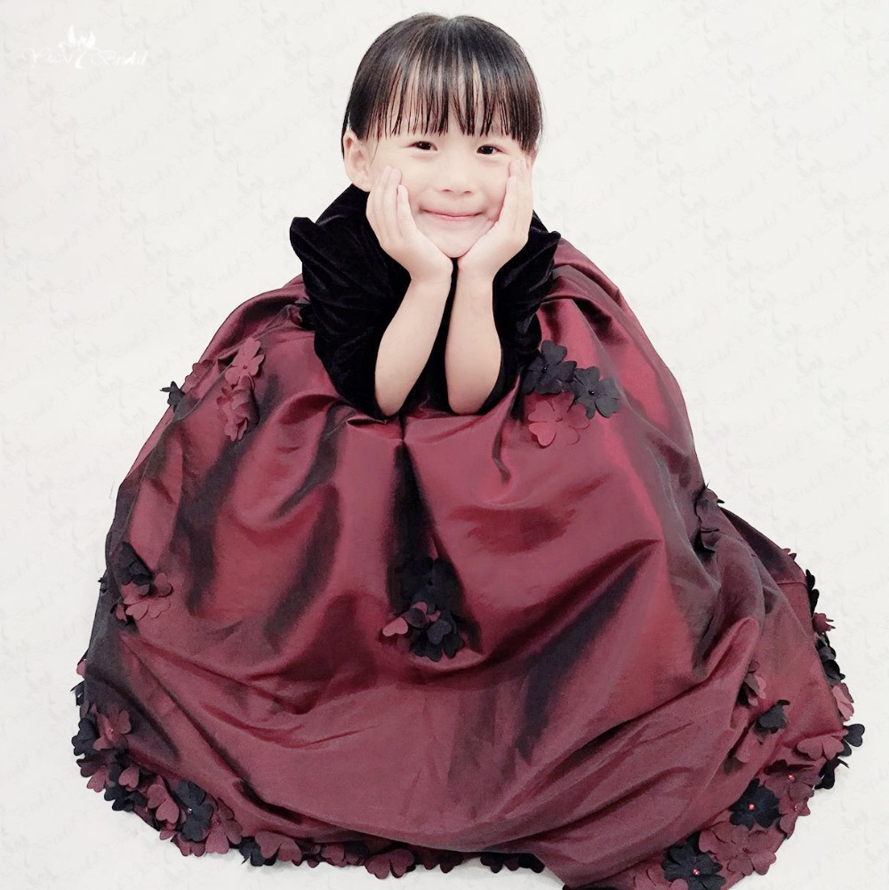 FG50 Long Sleeves Round Neckline Velvet Black   Flower     Girl     Dresses   Taffeta Skirt   Girls   Pageant   Dresses   Winter
