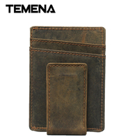 Temena 2018 Crazy Horse Cowhide Leather Credit Card Holder Genuine Leather ID Card Holders Men Business