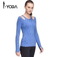 Women Long Sleeve Bare Shoulder T Shirt Running Tights Sexy Slim Nylon Dry Fit Strentch Sport Yoga Tank Tops with Bra CX006