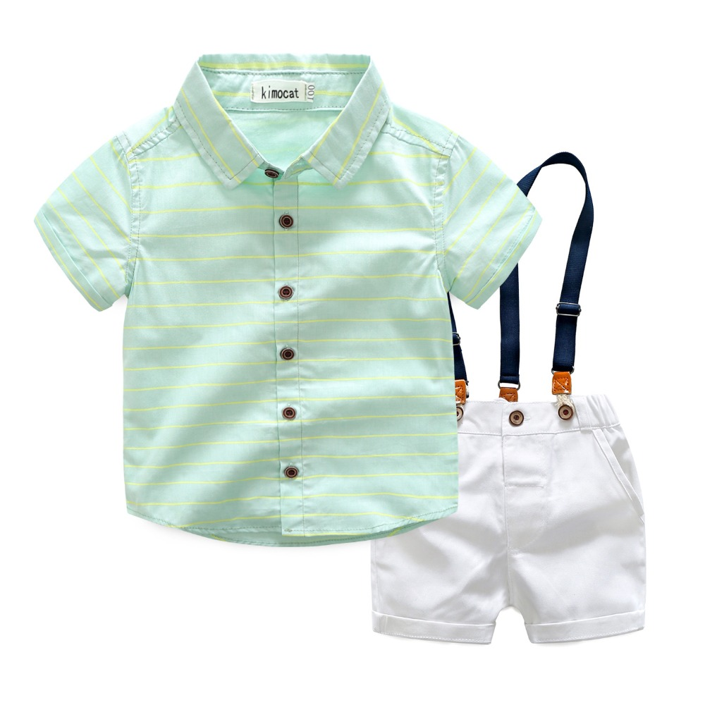 Baby boys short sleeve cotton green striped t shirts white strap shorts set high quality infant gentleman casual clothes 17A801