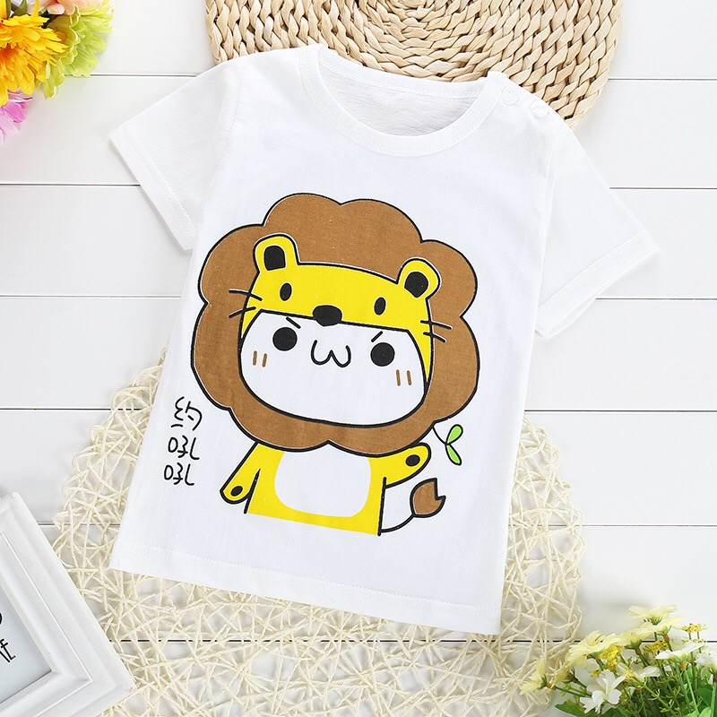 FHADST-Active-Baby-0-2-year-Boys-Girls-T-shirt-Short-Sleeve-O-Neck-Cotton-tees-Kids-Summer-White-Clothes-Character-Cute-monkey-1