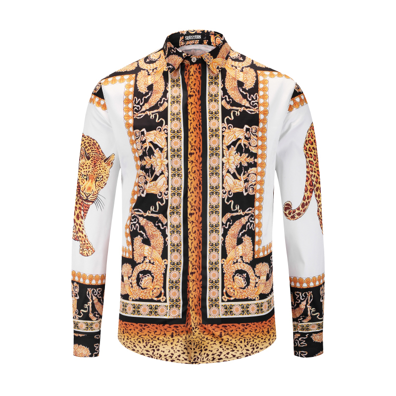 US $27 0 |Seestern Brand Garment Printing Leopard Greek Gods Crown Fashion  Men's Shirt Western style Leisure Youth Shirt Hip Hop man Tops-in Casual