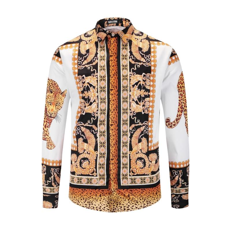 Seestern Brand Garment Printing Leopard Greek Gods Crown Fashion Men's Shirt Wes