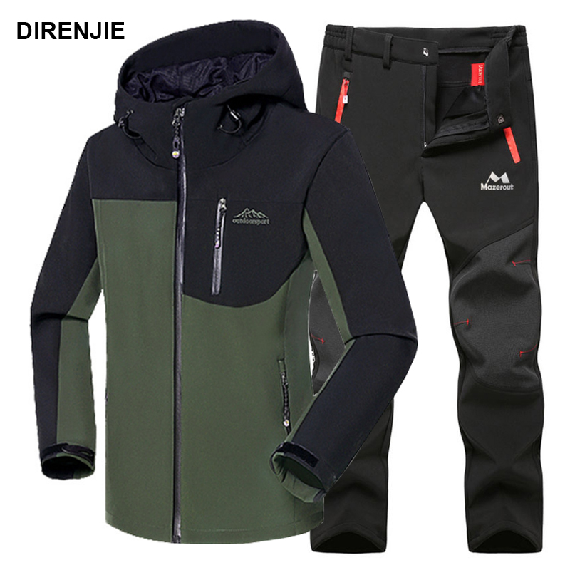 Man Winter Waterproof  Fishing Treval Outdoor Jacket Suit Hiking Pant Camping Climbing Trekking Skiing Trousers Fleece Softshell