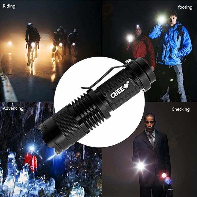 Cree q5 mini preto 2000lm à prova dwaterproof água led lanterna 3 modos zoomable led tocha penlight frete grátis