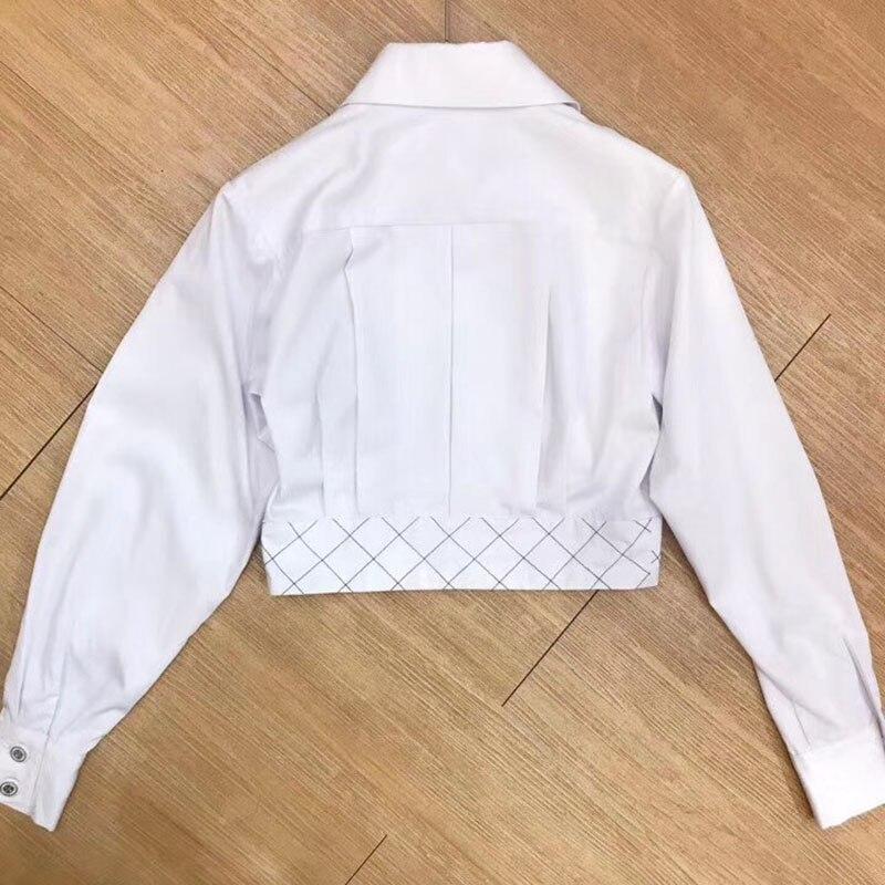 Pour Nouveau O Élégant Veste Mince 2018 Bouton cou Style Manteau Blanc Avec Femmes Lady Ow56qtfwp