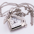 Heart Shape Luxury Silver Retro Antique Hollow Pocket Watch Pendant Long Sweater Fob Watch With Chain Necklace Women Girl's Gift