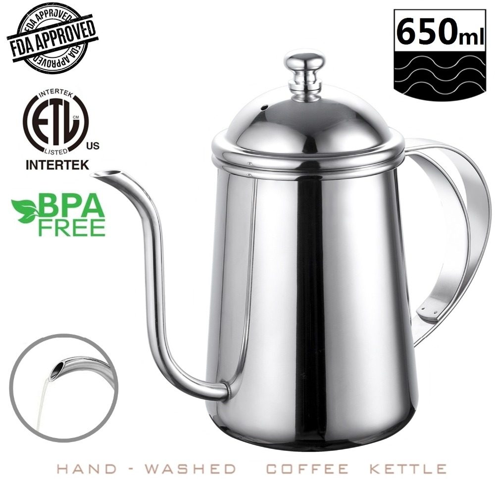 22oz/650ml Stainless Steel Pour Over Coffee Kettle Gooseneck 6mm Spout Drip Pot Coffee Makers Teapot Cafetiere For Barista