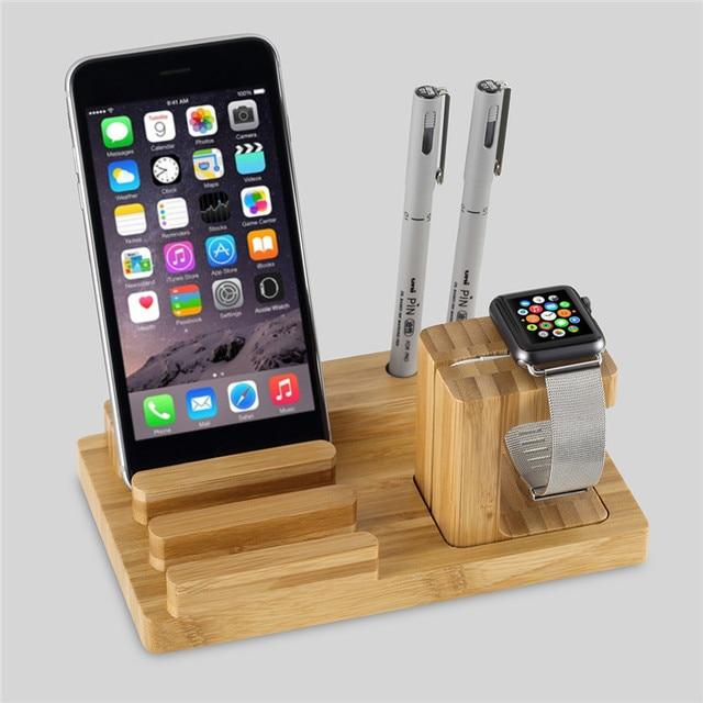 Универсальный Натуральный Бамбук Зарядки Док Колыбели Стенд Съемная Многофункциональный Держатель Телефона Для я смотрю Для iPhone 6 6 S Plus ipad