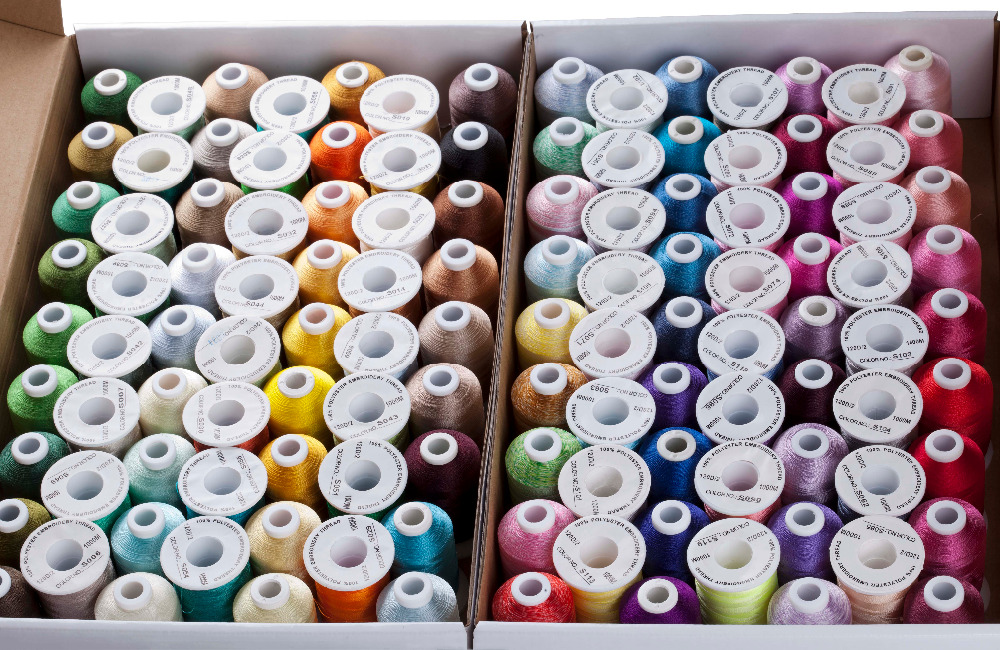 Wholesale 120 Assorted Colors 100 Polyester Embroidery Thread 1000M Spool Free Shipping