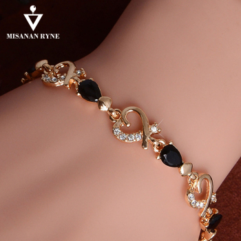 MISANANRYNE New Beautiful Colorful Austrian Crystal Fashion Heart Chain Bracelet Wholesale
