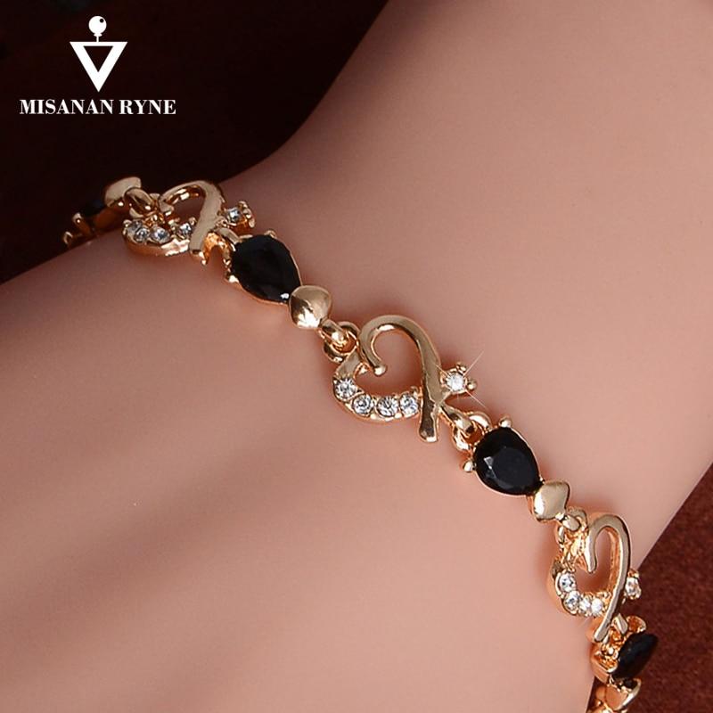 MISANANRYNE New 5 colors Beautiful Bracelet for Women Colorful Austrian Crystal Fashion Heart Chain Bracelet Wholesale