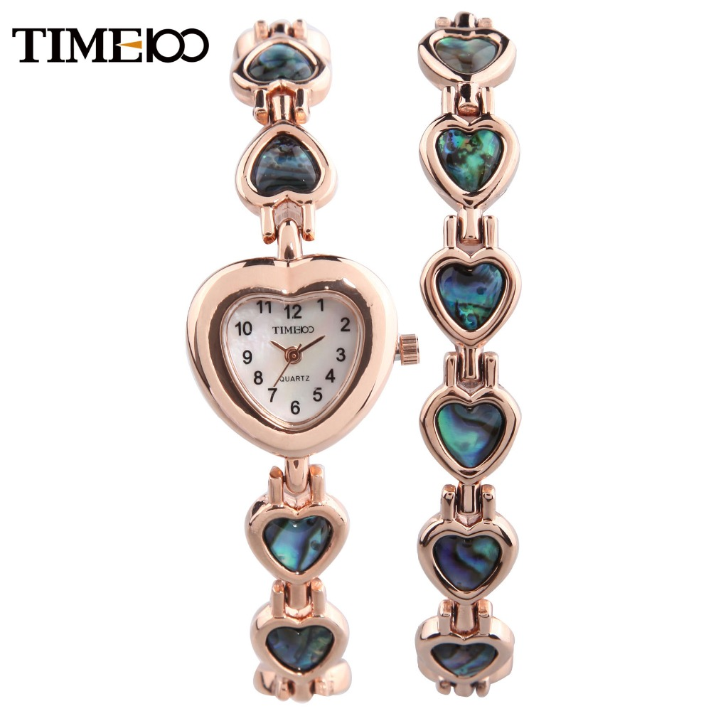 New TIME100 Women's Quartz Watch Free Bracelet Heart-shaped  Shell Dial Dress Casual Bracelet Watches For Women relogio feminino skinny ripped frayed ninth jeans