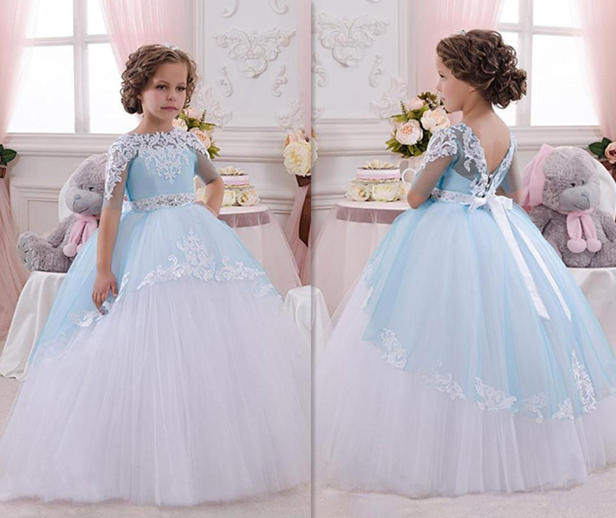 Hot Robe Customized Ball Gown Crew Neck Flower Girl Dress Ankle Length Bow Sash Patchwork Long First Communion Dresses green crew neck roll half sleeves mini dress