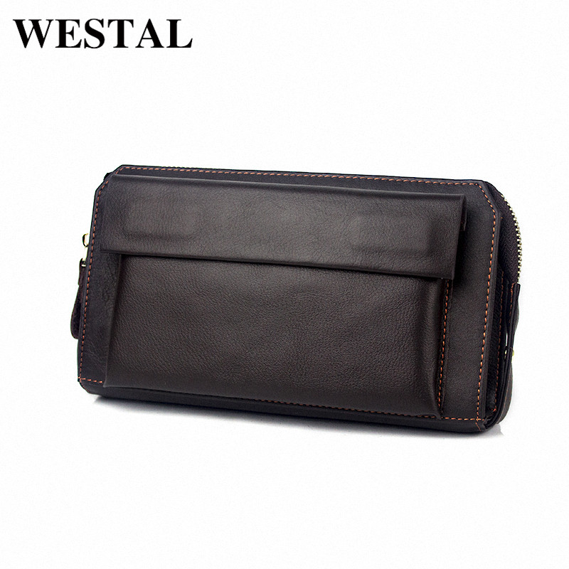WESTAL Capacious Genuine Leather Men Wallet Coin Pocket Men Mens Wallets Credit Card Holder Male Clutch Bags Man Purse 9032 men wallet male cowhide genuine leather purse money clutch card holder coin short crazy horse photo fashion 2017 male wallets