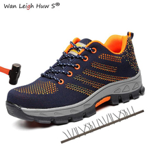 35~46 Outdoor Men Anti-slip Steel Puncture Proof Construction Safety Boots Work Shoes Men's Breathable Steel Toe Cap Safety Shoe ce certification rubber men and women safety work shoe covers oil slip resistant specialized works shoes light steel toe shoe