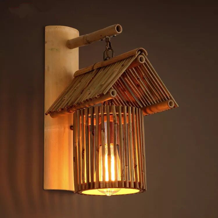 Bamboo lamp Cafe antique farmhouse decorative wall lamp creative aisle handmade bamboo h ...