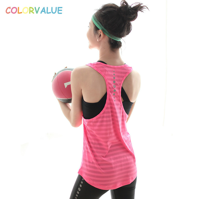 Colorvalue Stripe Running Vest Women Anti-sweat Loose Sport Tank Tops Solid Racerback Fitness Gym Vest O-neck Yoga Vest
