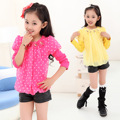 Autumn Children New Girls Shirt Cotton Korean Chiffon Long Sleeved Shirt T-shirt Kids Clothing Yellow Rose Red Dot